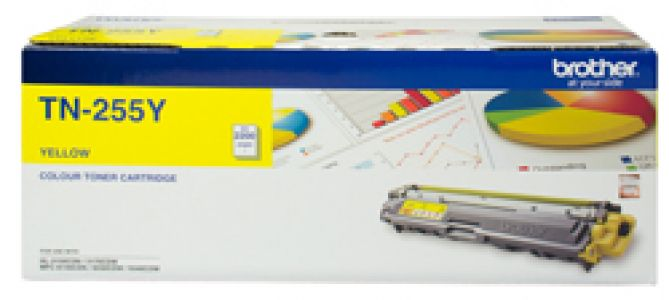 Brother TN255Y Colour Laser Toner Yellow up to 2200 pages at 5% coverage suitable for